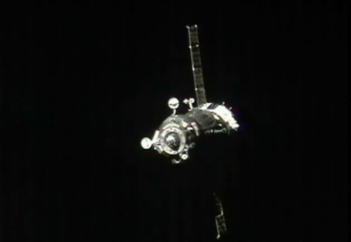 Soyuz 34 docking with the ISS after fastest manned rendezvous (Image: NASA)