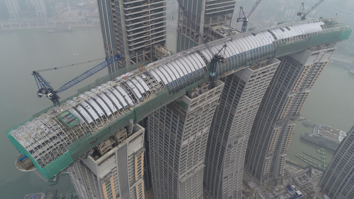 Raffles City Chongqing's horizontal skyscraper measures 300 m (984 ft) in length
