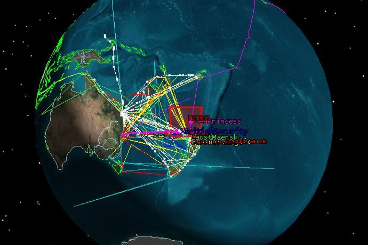 The paths of some of the satellites identified in the study