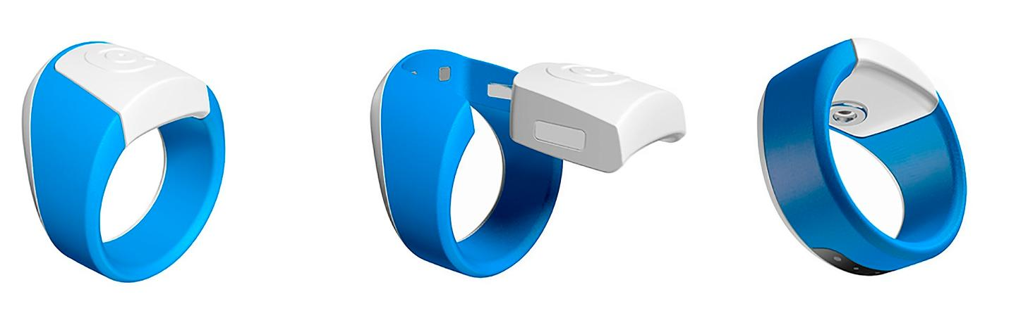 The Hoope ring utilizes single-use needle/lab-on-a-chip cartridges