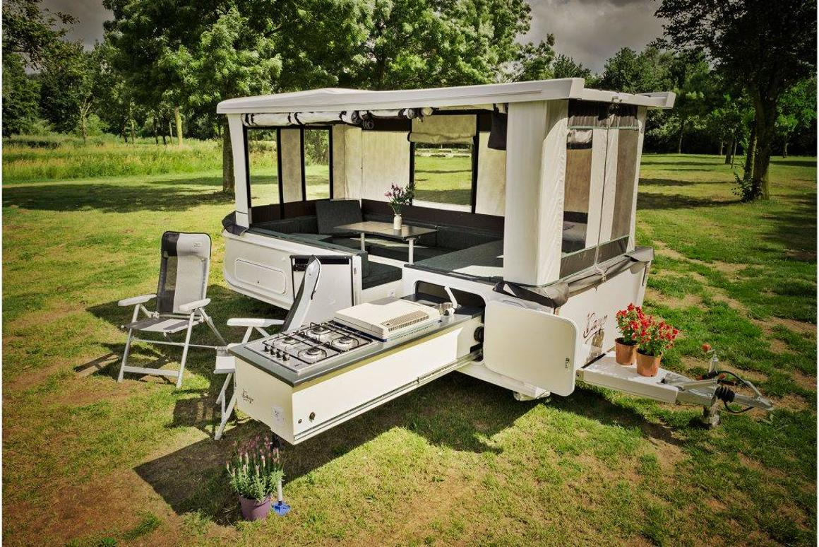 Remote-control pop-up camper tows like a sports car, grows