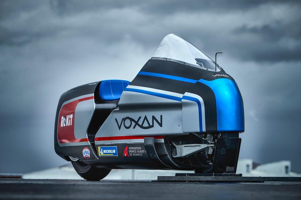 The 367-horsepower Voxan Wattman land speed bike complete with bullet train fairings