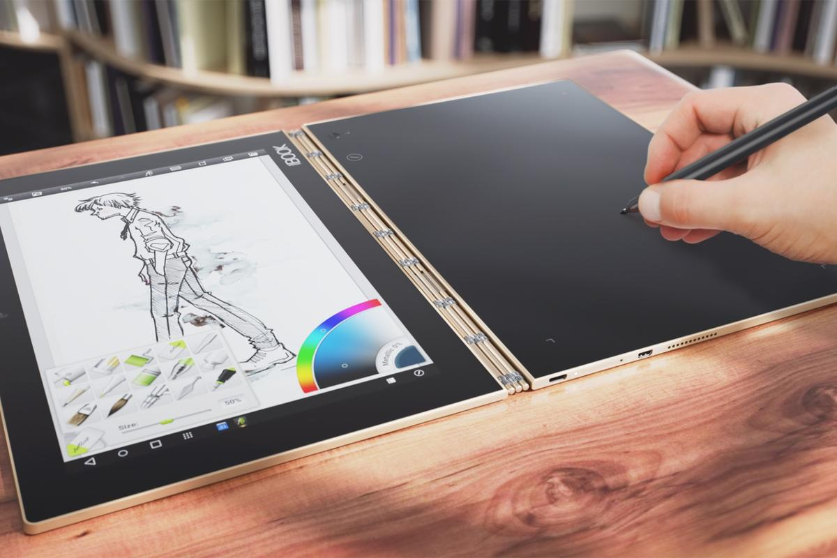 The new 2-in-1 Yoga Book has a dual-use stylus and a touch-screen keyboard that disappears when not in use
