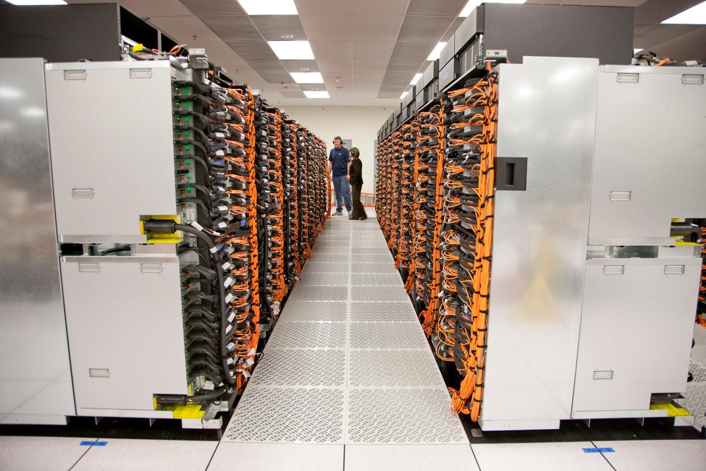 Sequoia's 96 racks during installation (Photo: Lawrence Livermore National Laboratory)