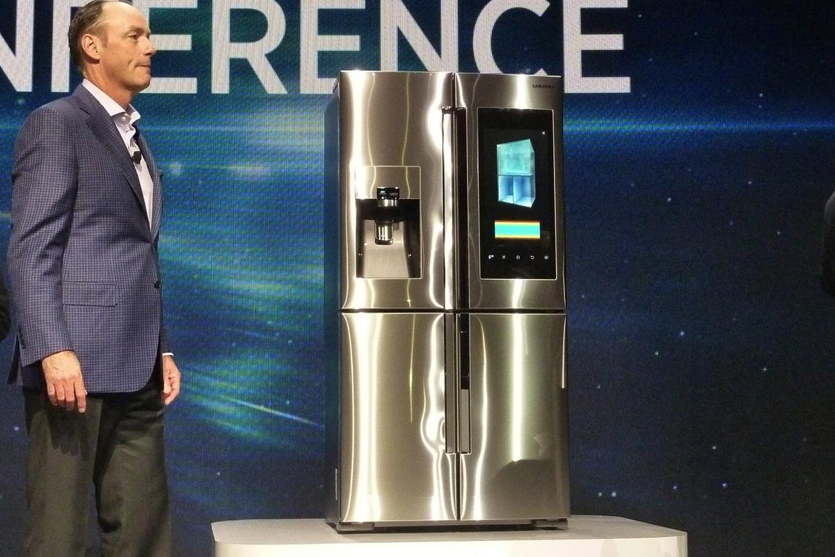 Tim Baxter, President and COO of Samsung Electronics America with the Family Hub Refrigerator at CES 2016