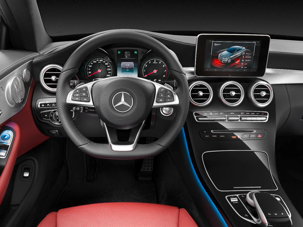 The C-Class Coupe's interior is almost identical to the sedan's