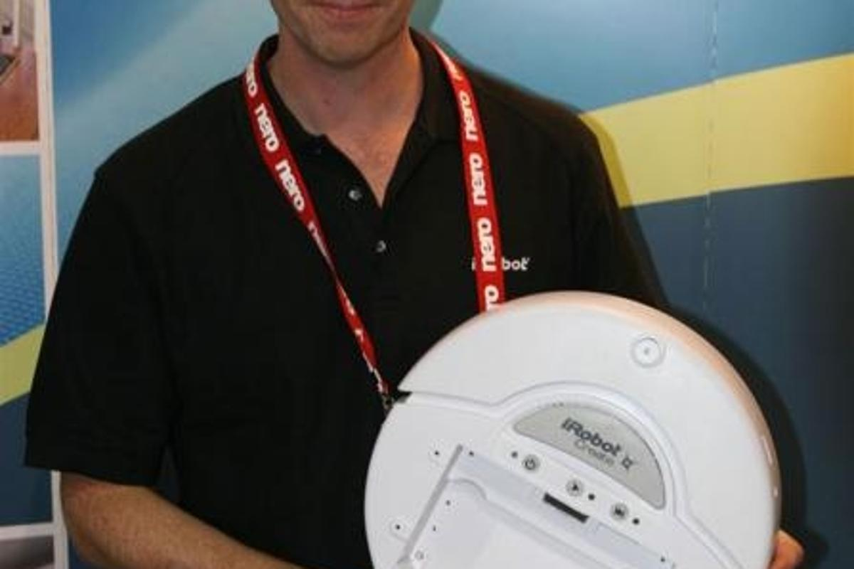 iRobot's co-founder and CEO, Colin Angle, poses with a Create for us.