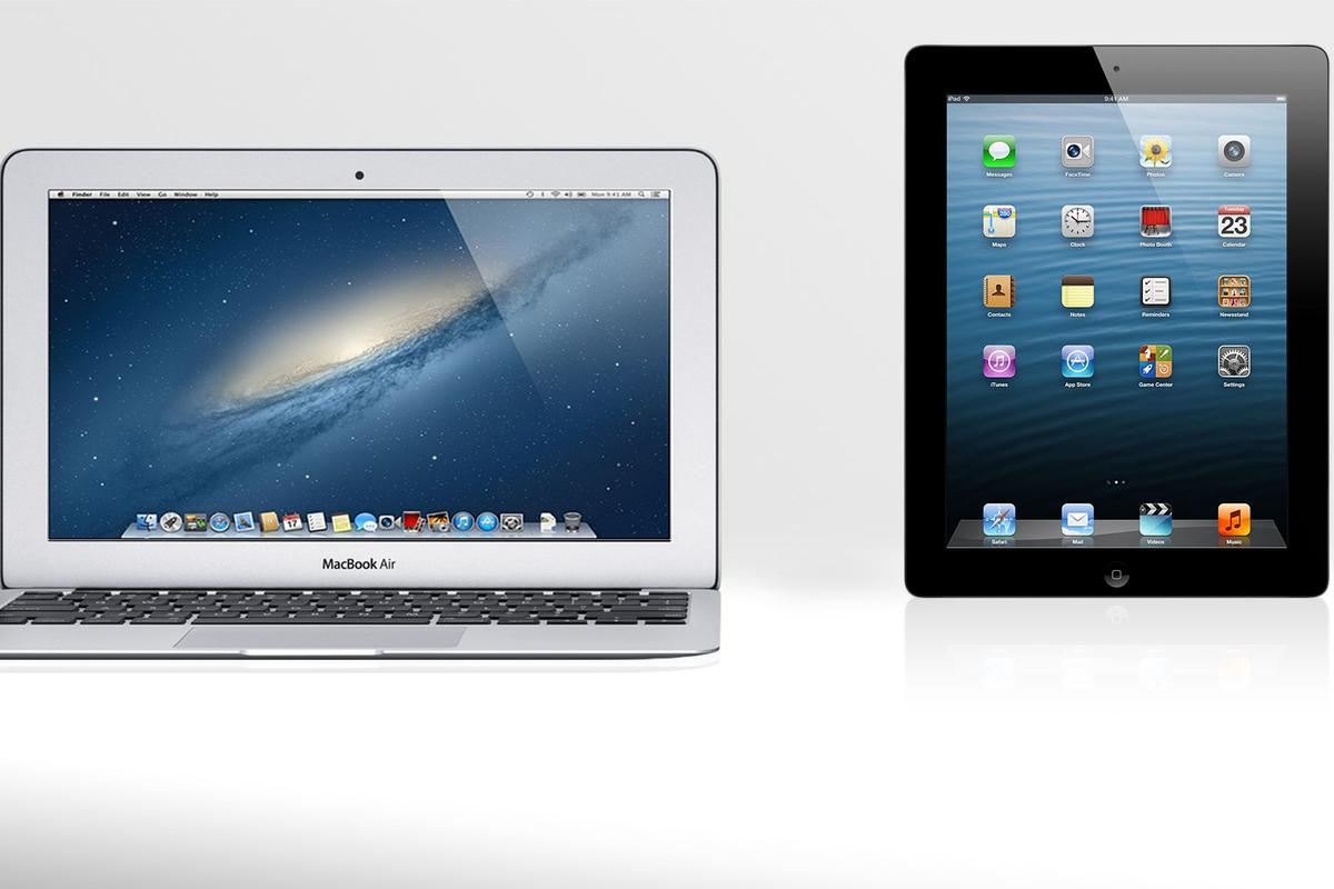 Gizmag compares the specs (and other features) of the 11-inch MacBook Air and the 4th-generation iPad
