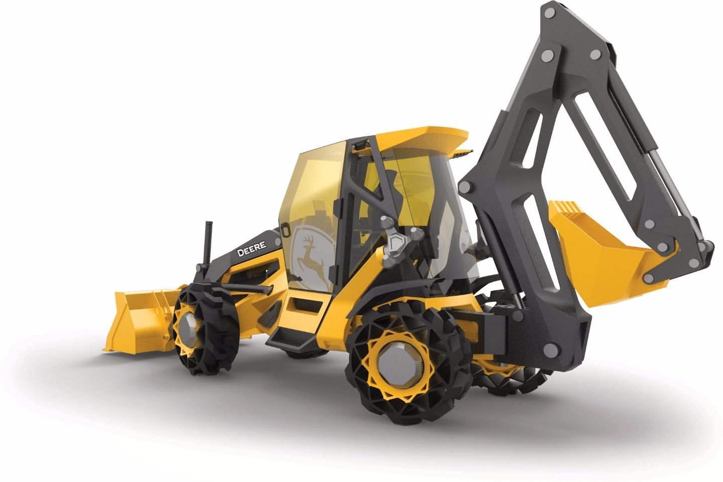 The Designworks concept backhoe is designed for a 20 oercent weight savings