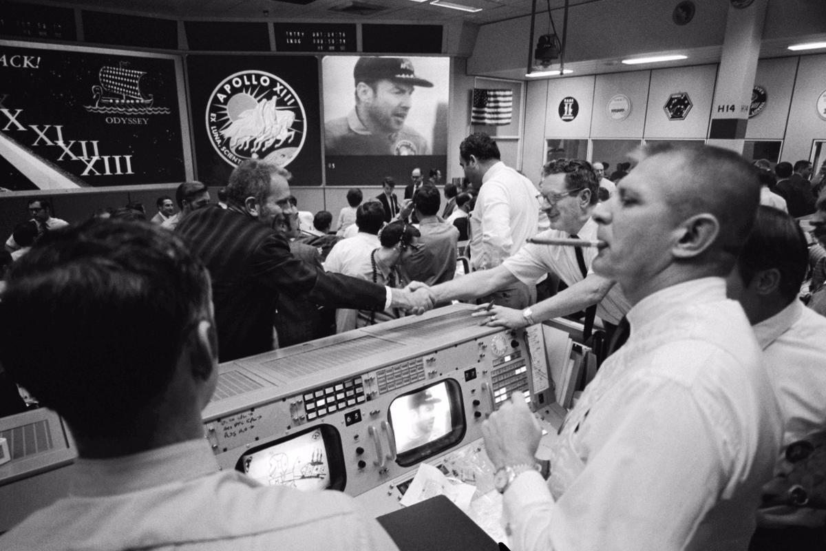 Apollo 13 commander Jim Lovell liveon screen in the MOCR2 following the successful splashdown of the Odyssey command module