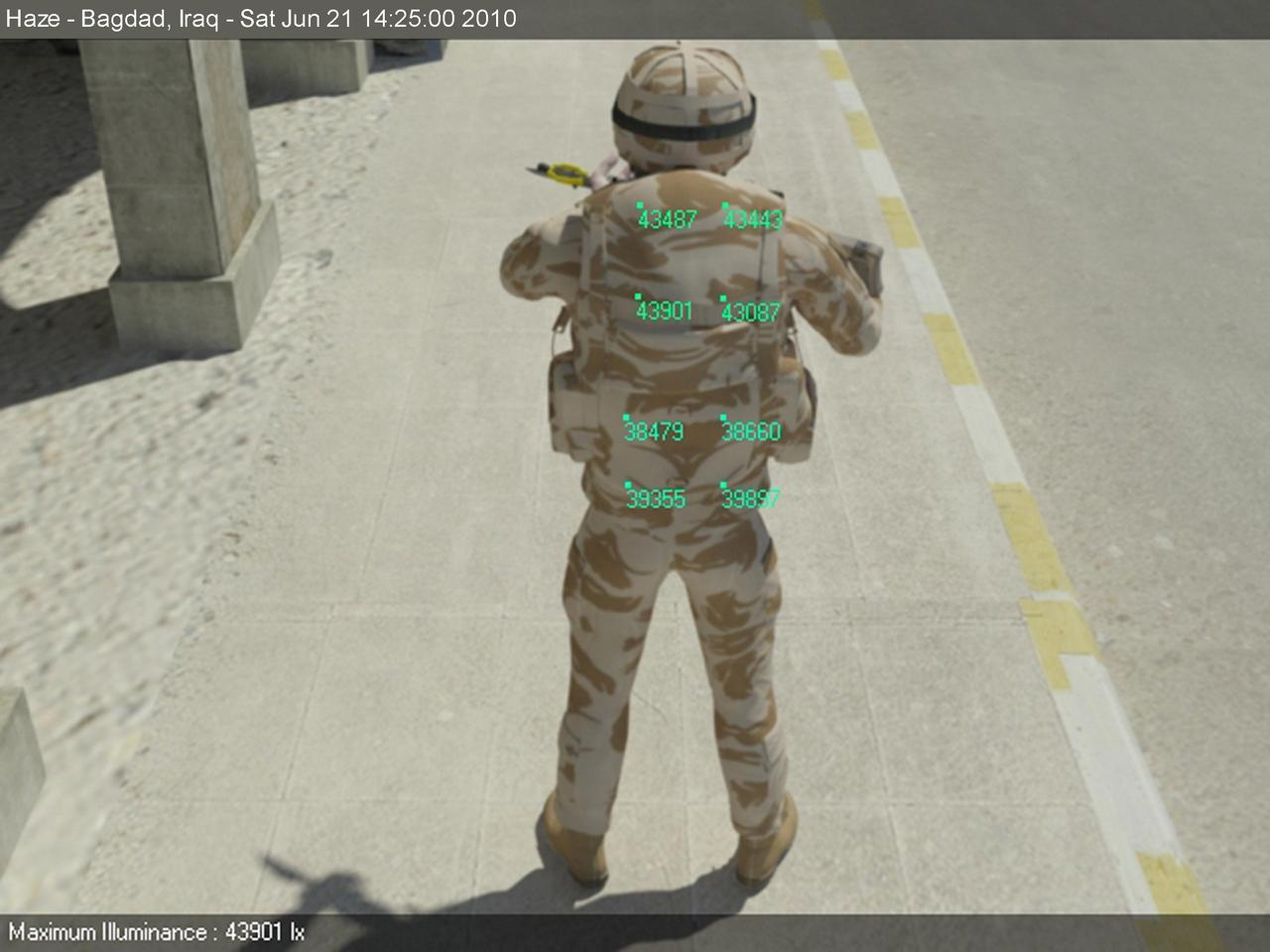 A soldier in a fictitious but realistic urban, desert environment, with superimposed numbers representing readings for anticipated sunlight (Image: EPSRC)