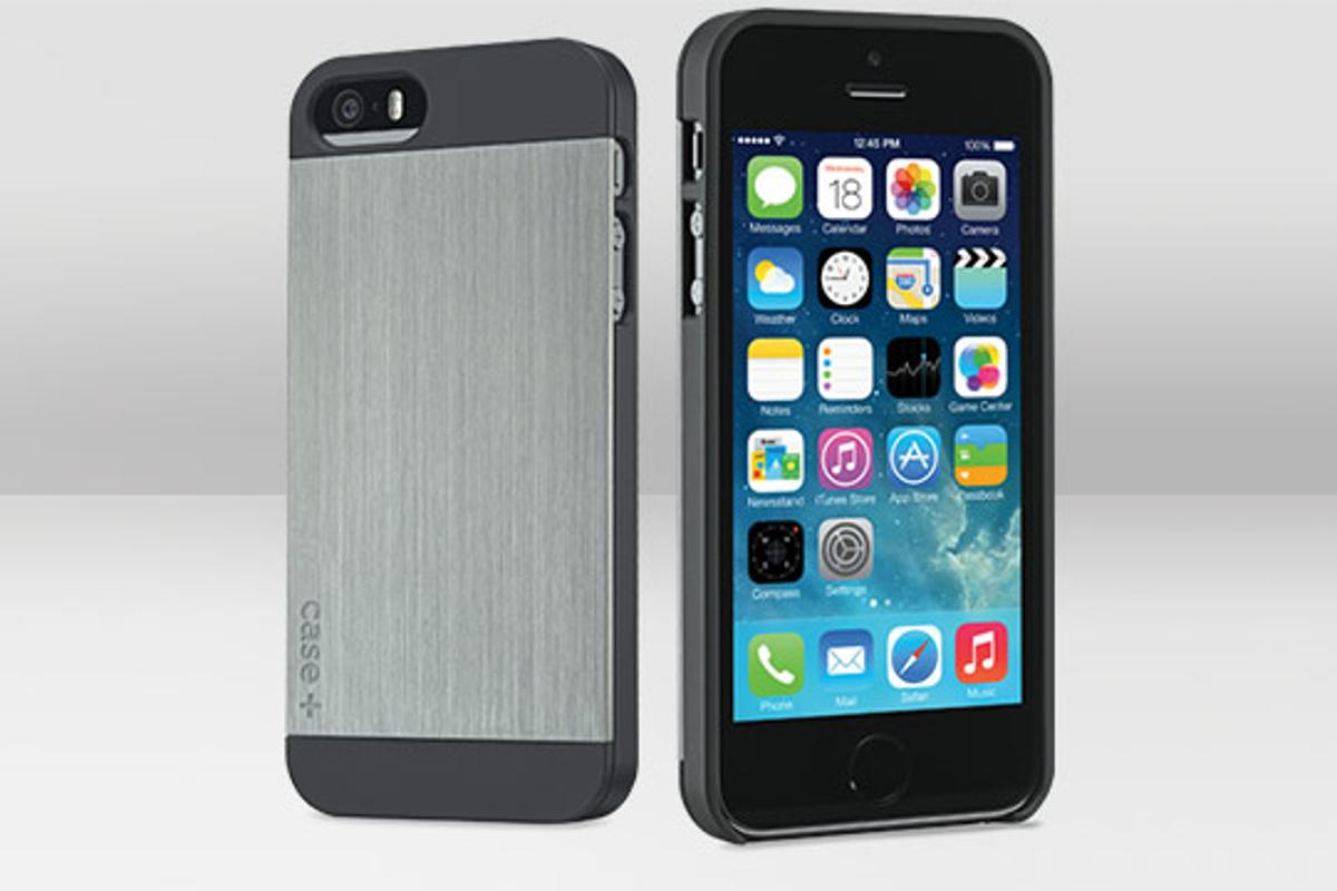 The case+ features a metal plate on the rear