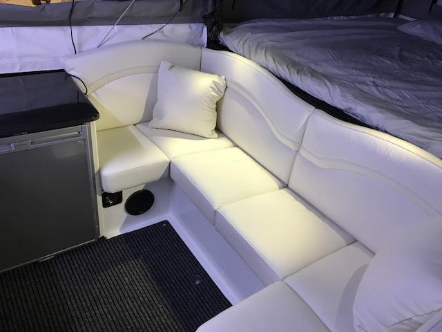 The Nexus interior has a king-size bed, leather sofa, sound system and galley