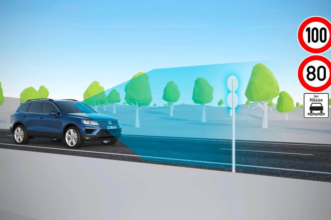 The VWDynamic Road Sign Display reads the speed limit signs and shares the info with the driver