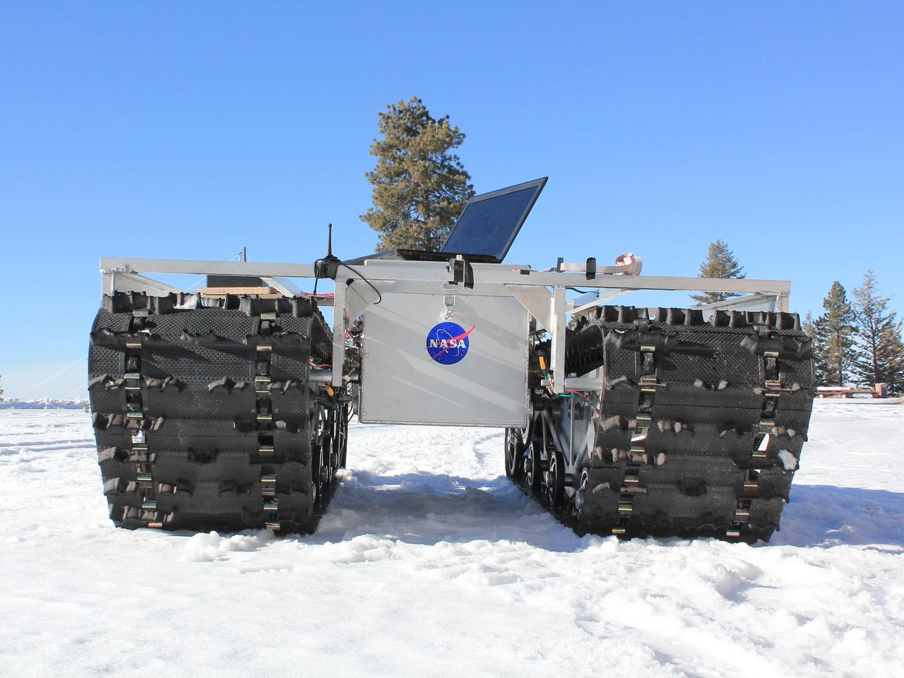 NASA's GROVER, without solar panels. The laptop is a temporary fixture (Photo: Gabriel Trisca, Boise State University)