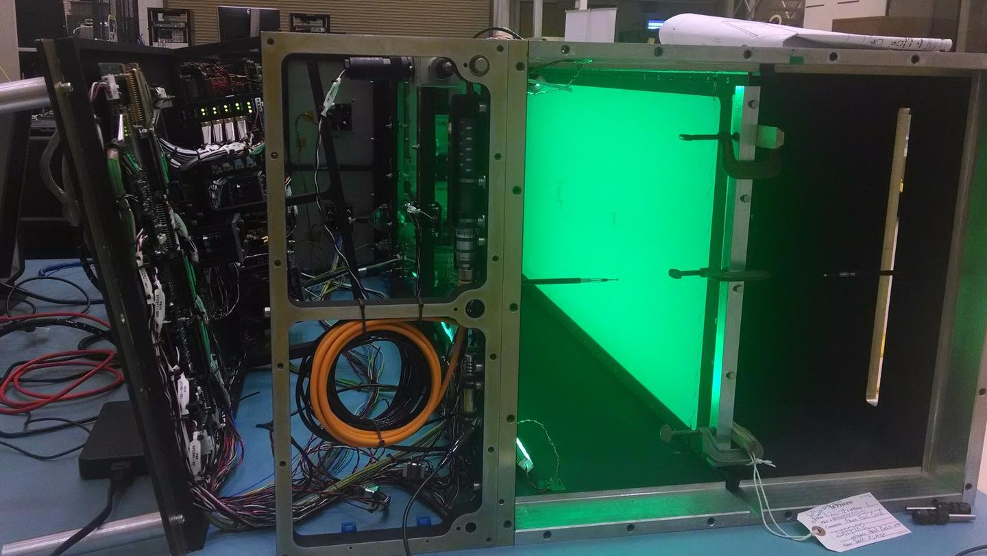 The pre-flight Saffire-I lit by green LEDs as it was during flight.