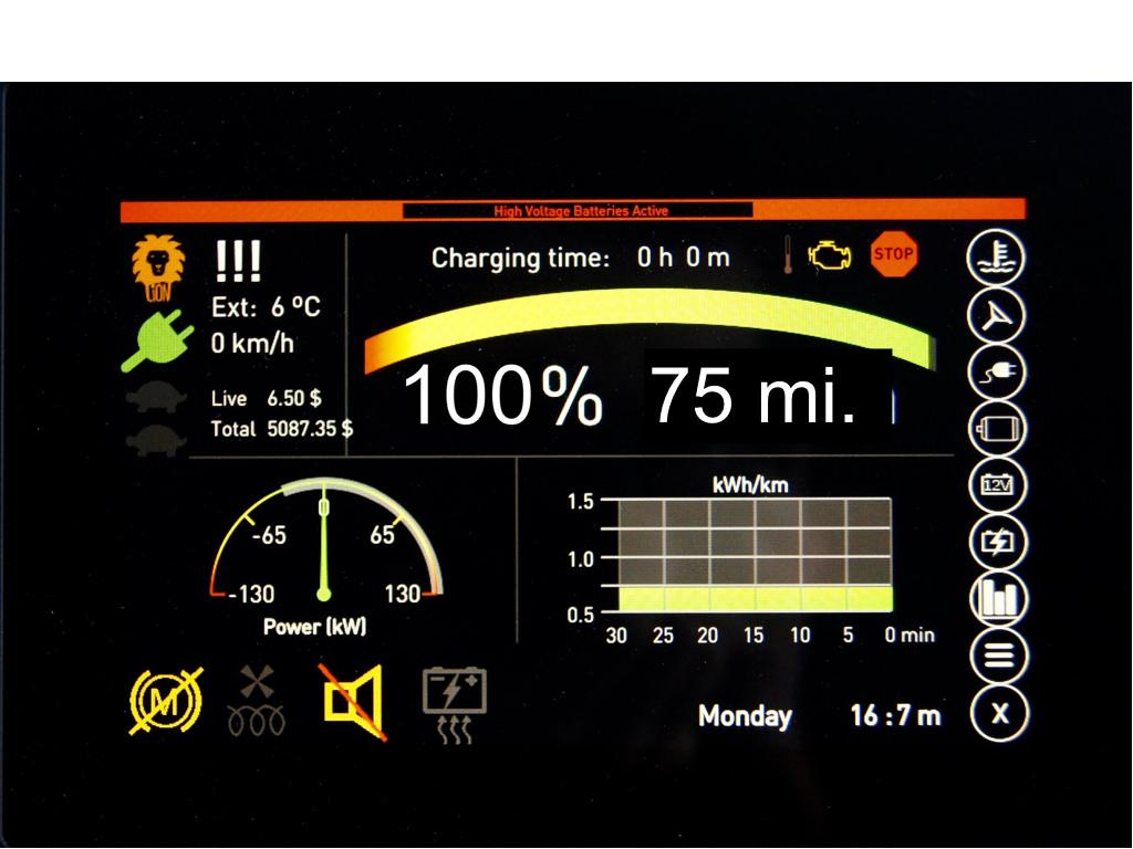 The eLion's touchscreen display provides battery and system information