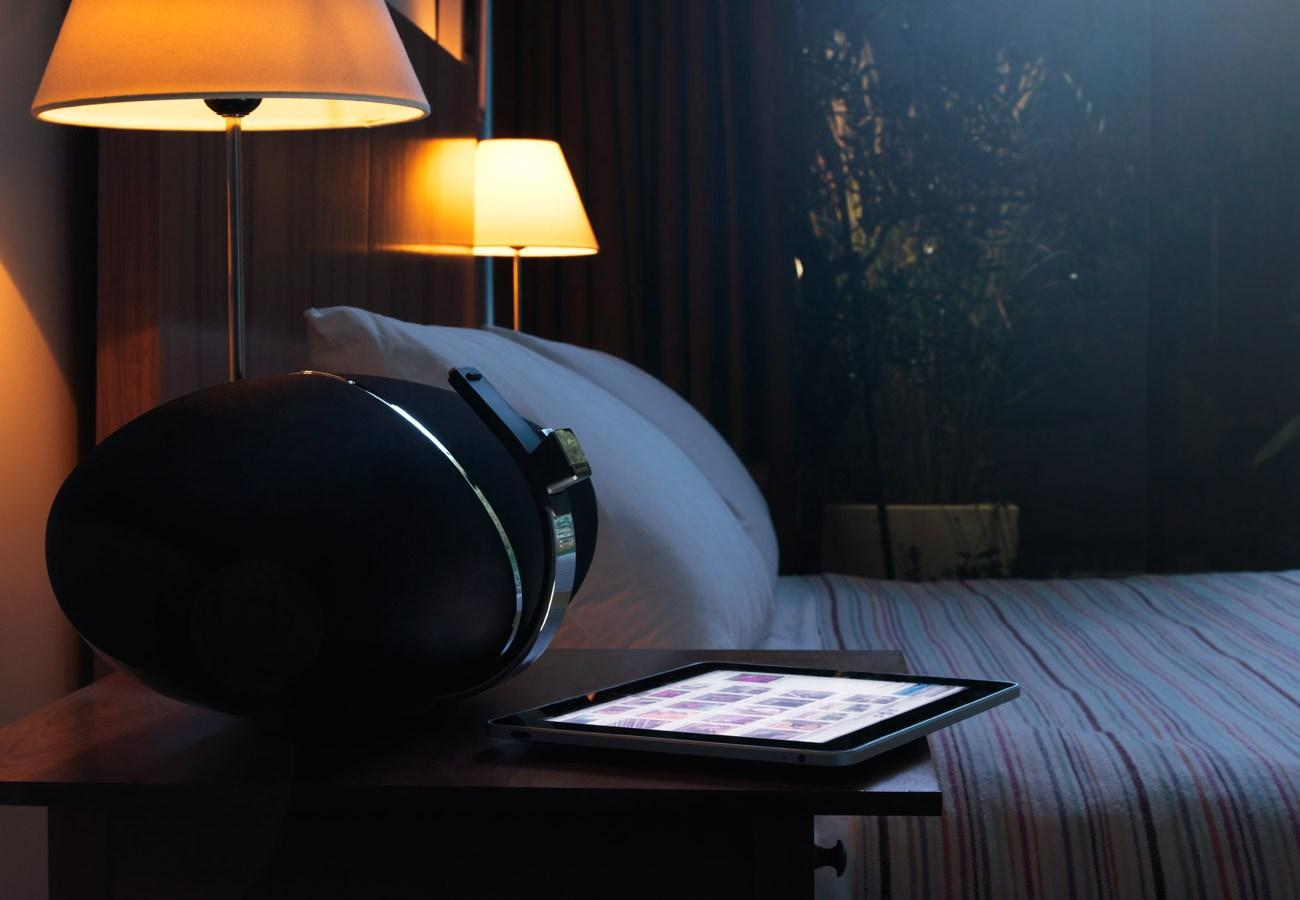 The Zeppelin Air in bedroom setting - make sure to turn down the volume before setting your iOS device alarm!