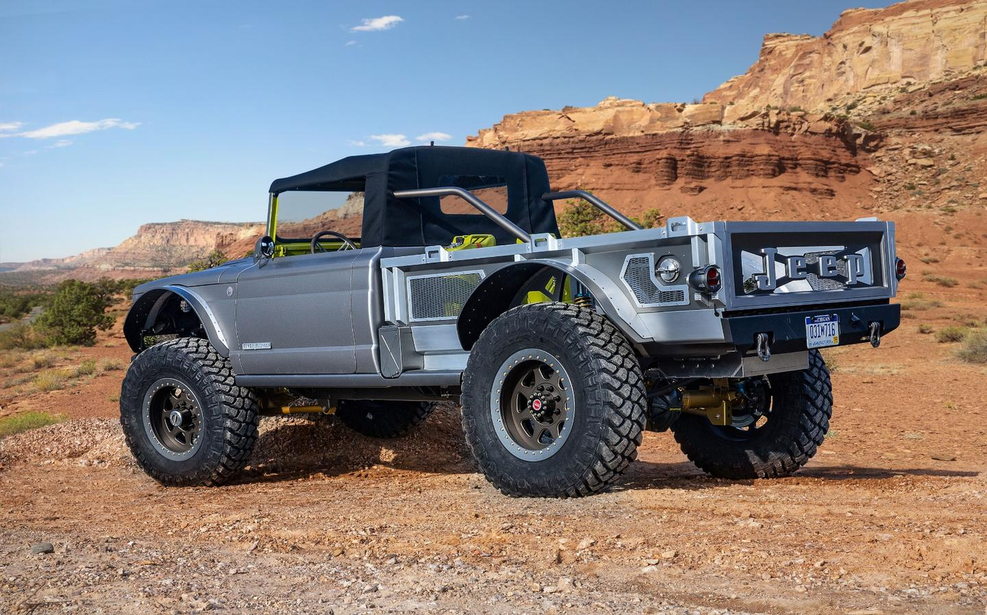 A lowered soft top and a breezy aluminum pickup bed give the M715 Five-Quarter a unique look