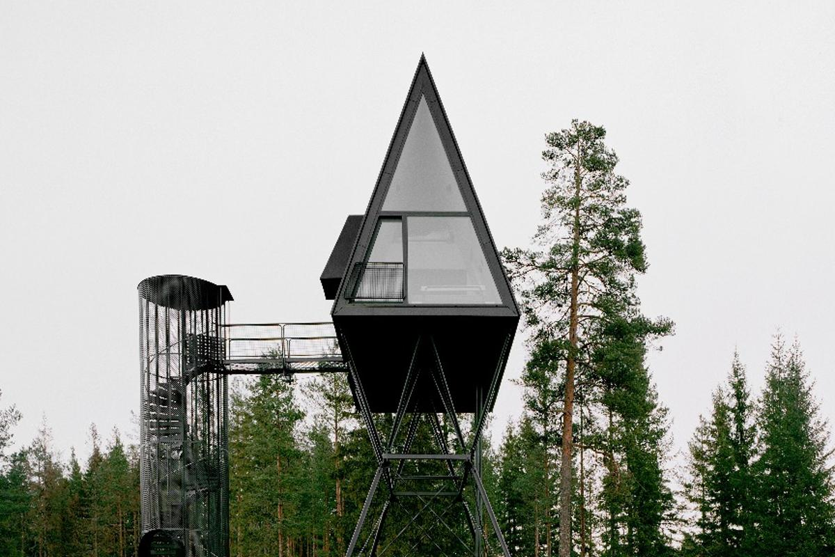 The Pan Treetop Cabins are part-inspired by the Moomins and are raised 8 m (26 ft) above the ground