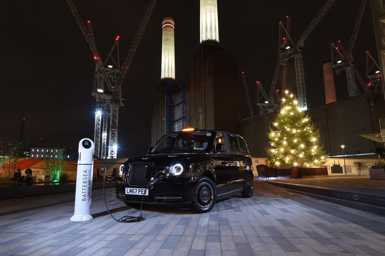 The TX eCity taxi was launched at the recently-completed first phase of the Battersea Power Station regeneration project, Circus West Village