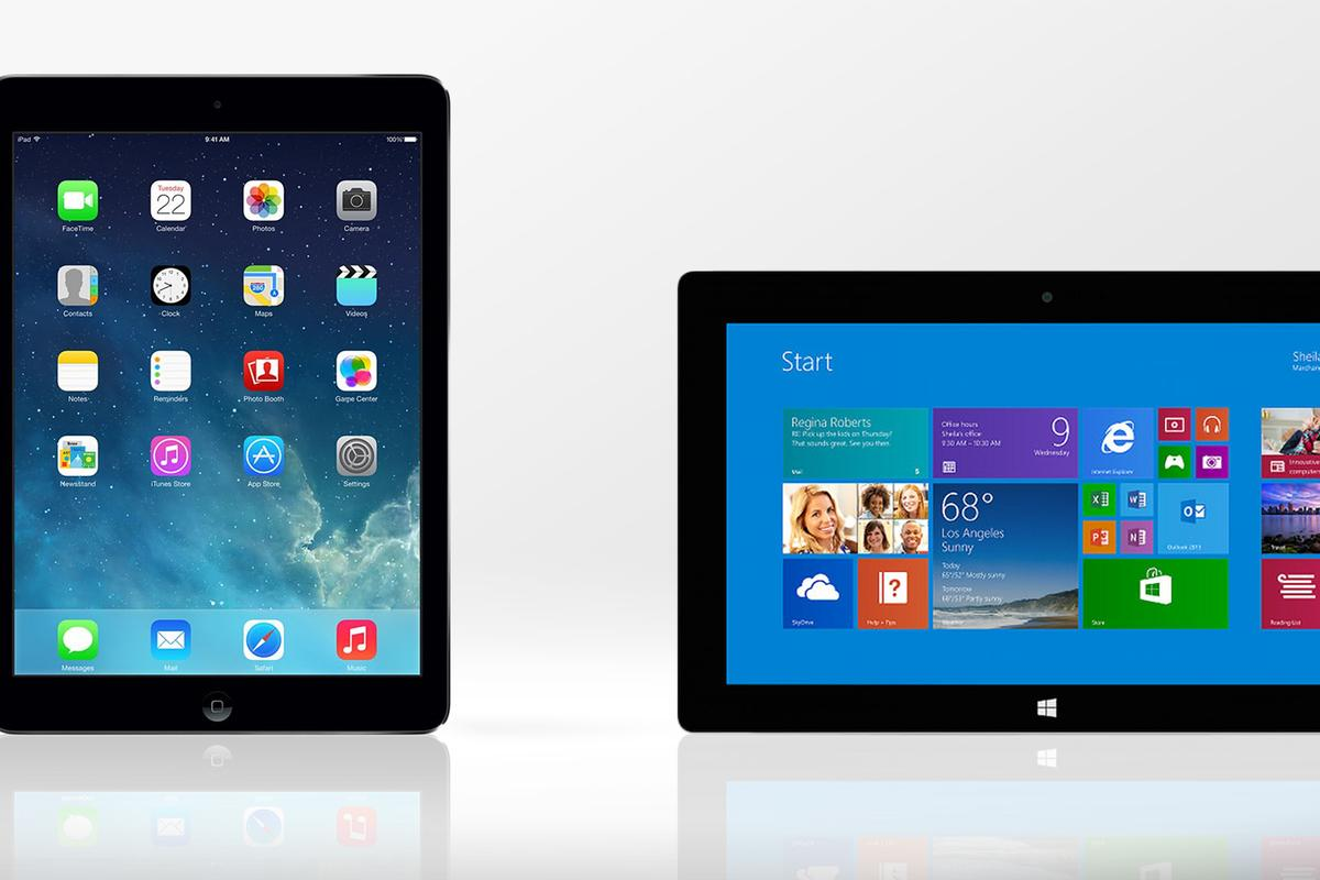 Gizmag compares the features and specs of the iPad Air and Surface 2