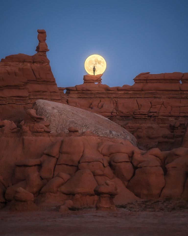 WINNER 'Surprised by a full moon at goblin valley'. Goblin Valley State Park, Emery, USA