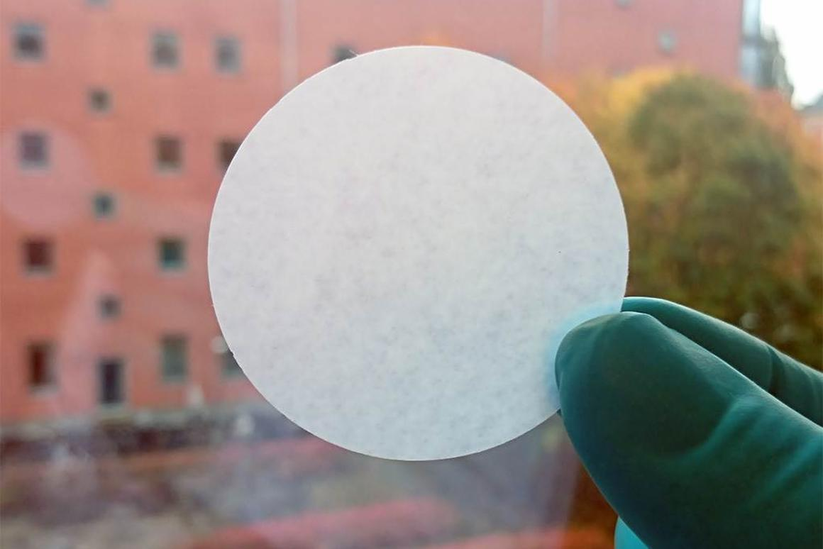 A sample of the filtration paper, made of algae nanocellulose