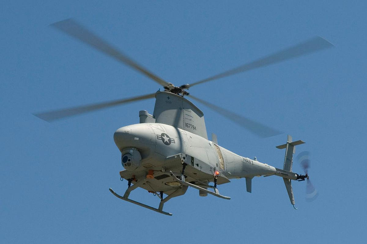 The Northrop Grumman RQ-8A Fire Scout UAV helicopter is the test platform for the MMSS (Image: Department of Defense)