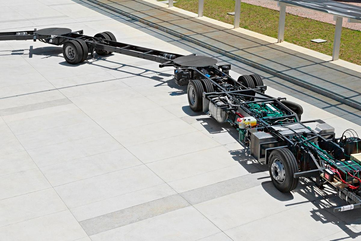 A look at the Volvo Gran Artic 300 chassis, which will eventually be topped with a body big enough for 300 passengers