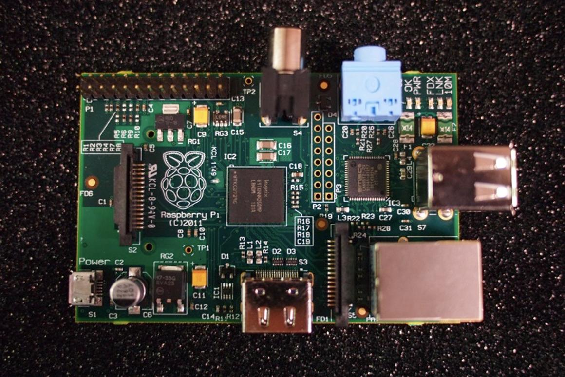 Top view of the US$25 Raspberry Pi computer