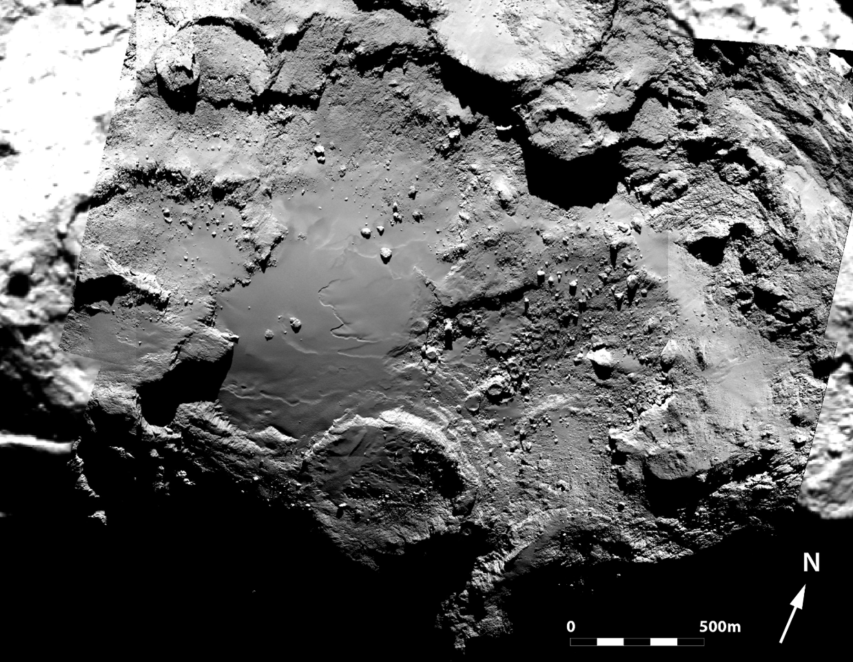 Mosaic of six images captured by Rosetta's OSIRIS narrow-angle camera picturing the Imhotep region