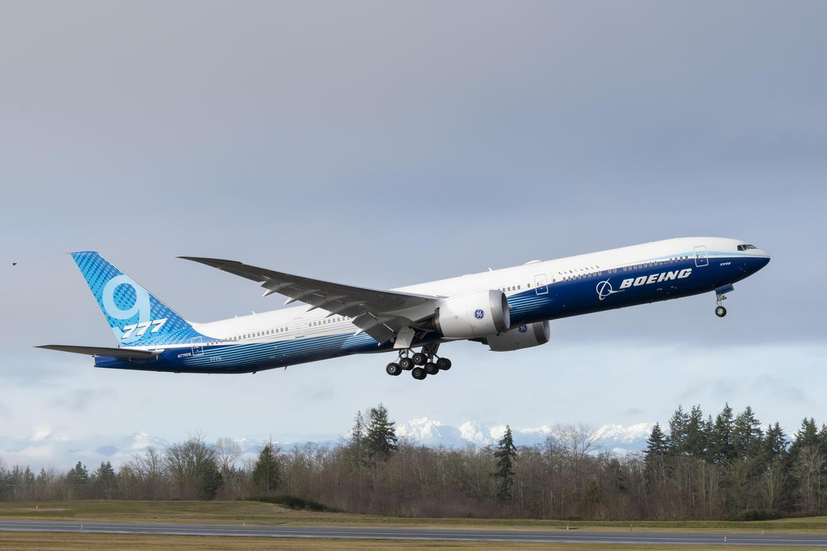 A Boeing 777X made its first flight at Paine Field in Everett, Washington on January 25, 2020