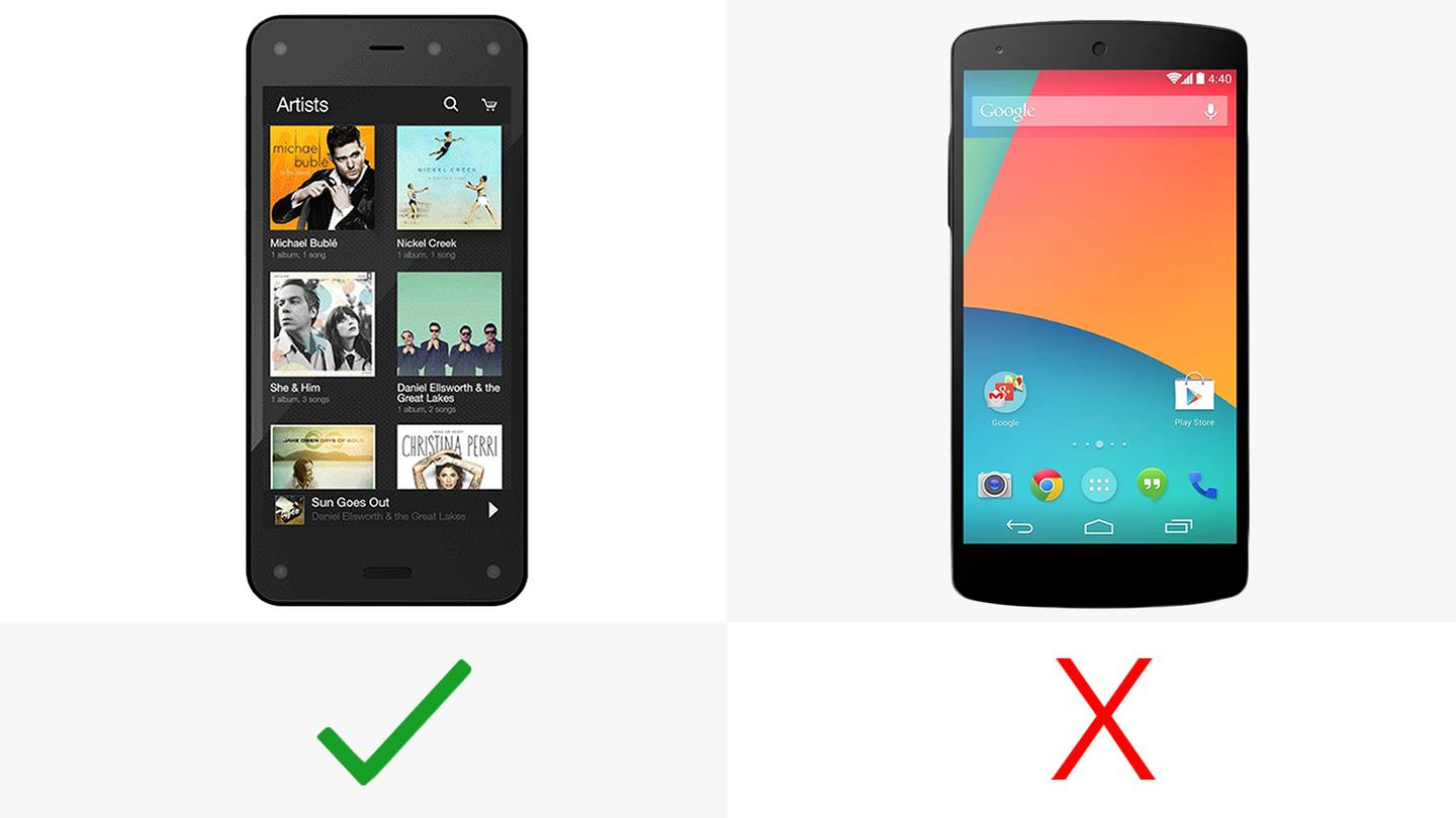 """The Fire Phone has a """"Dynamic Perspective"""" 3D display"""