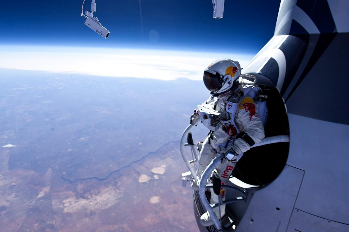 Felix Baumgartner stares down the barrel of the first test jump in the Red Bull Stratos project (Photo: Jay Nemeth/Red Bull)