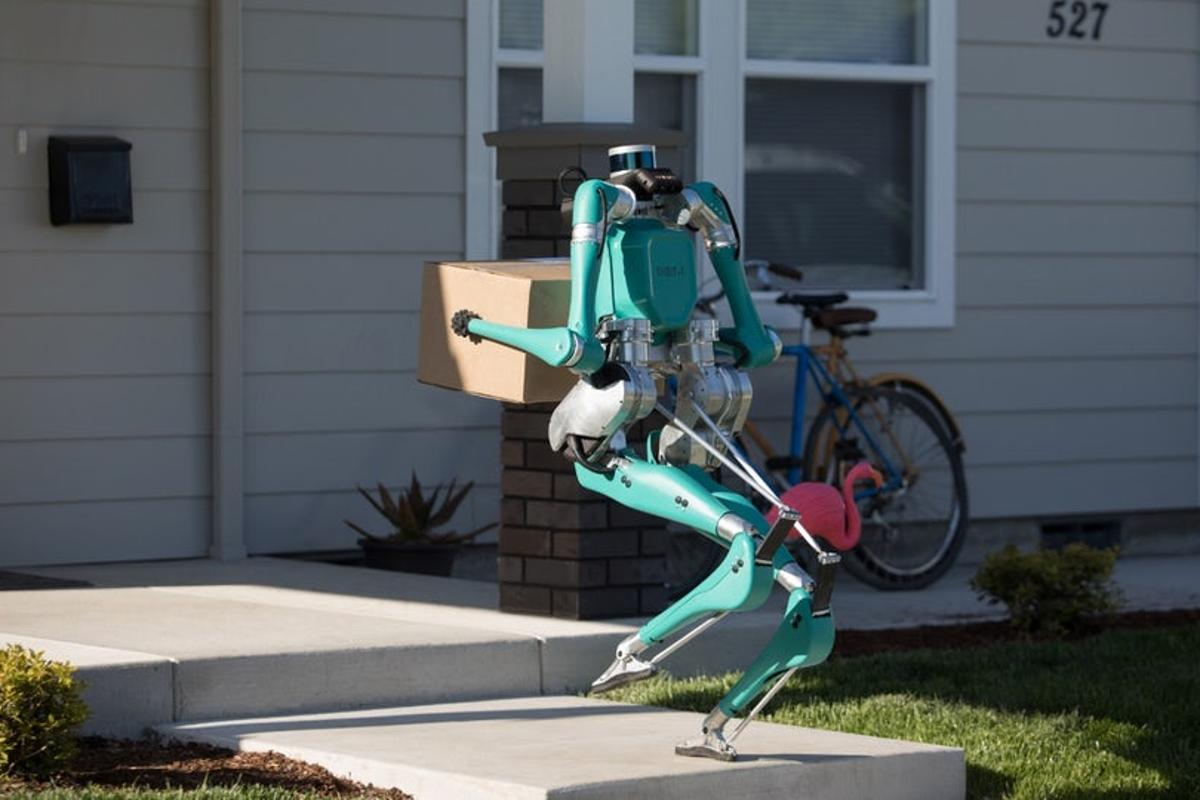 Ford's two-legged robot called Digit would travel to a customer's address in a self-driving vehicle before hopping out to drop the package at the door