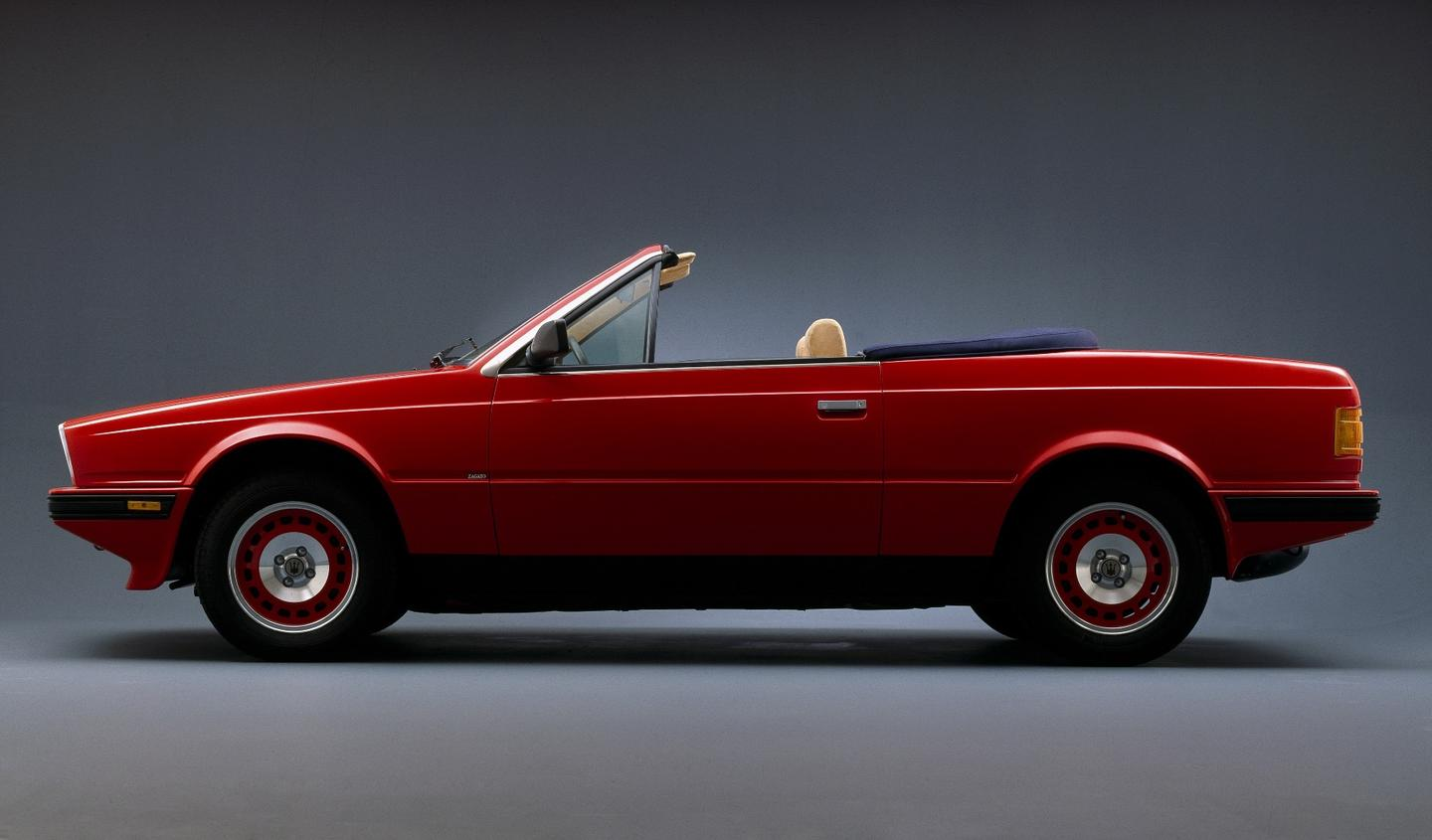The 1984 Maserati Biturbo Spyder was powered by a 2.0-liter twin-turbo six-cylinder engine