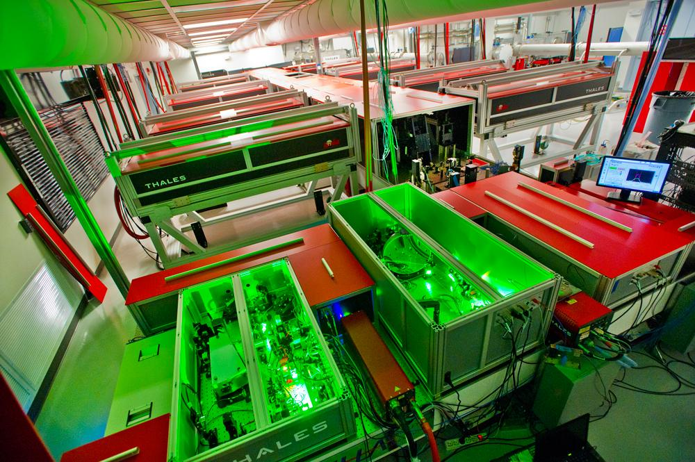 The BELLA laser during construction at Berkeley Lab. It recently delivered a record-breaking petawatt in a pulse just 40 femtoseconds long at a rate of one pulse per second