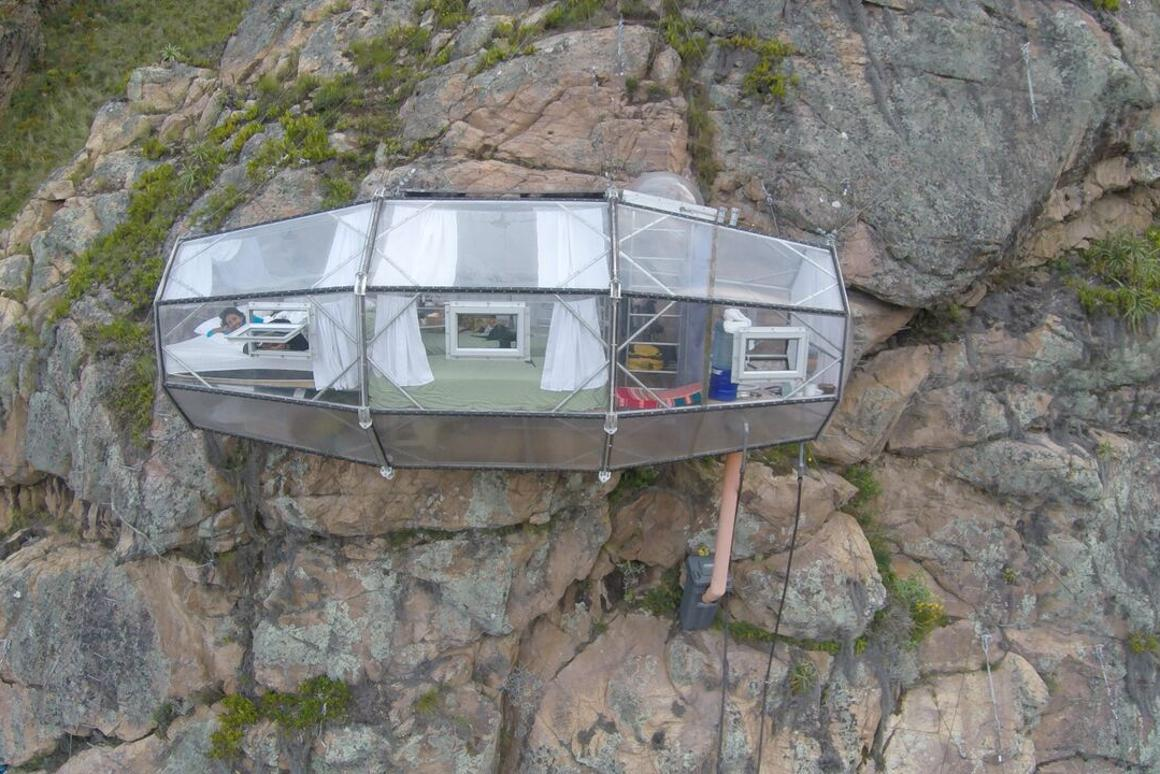 A Skylodge Adventure Suite perched on a Peruvian cliff face – and yes, it has a bathroom