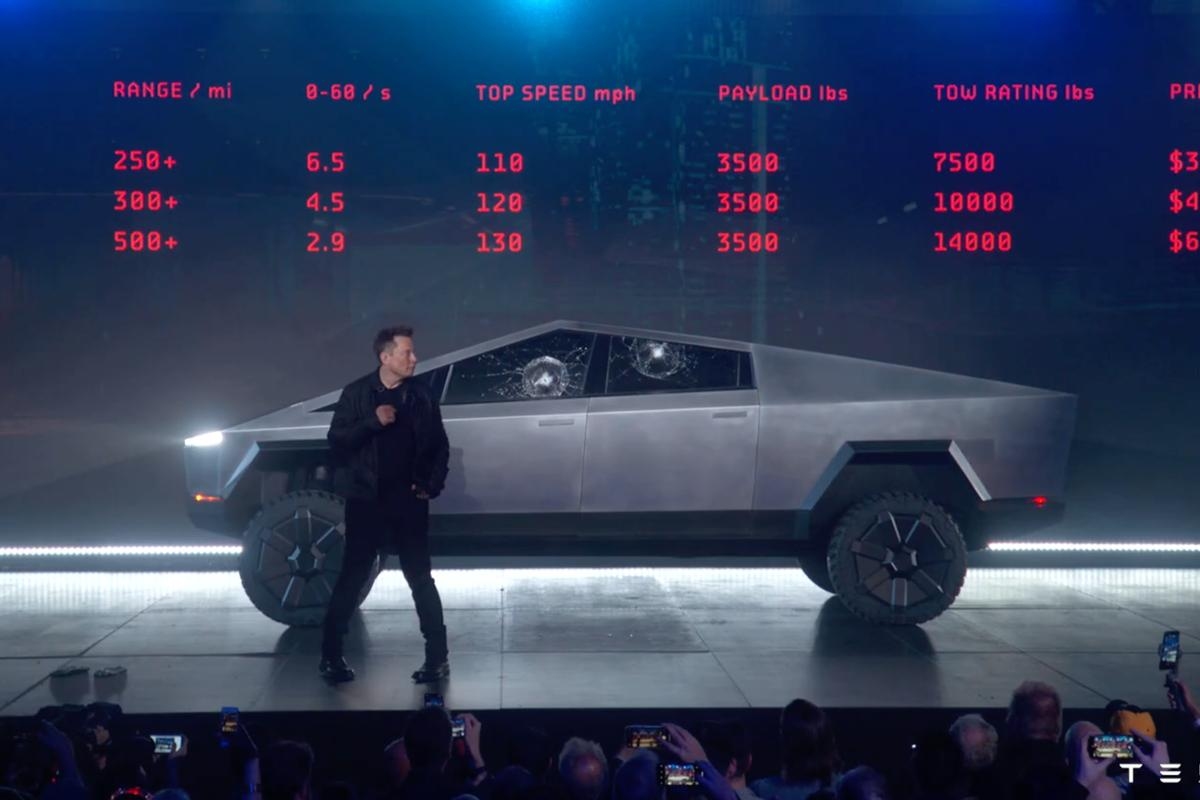 Tesla's bizarre Cybertruck, with two unfortunately non-smash resistant windows