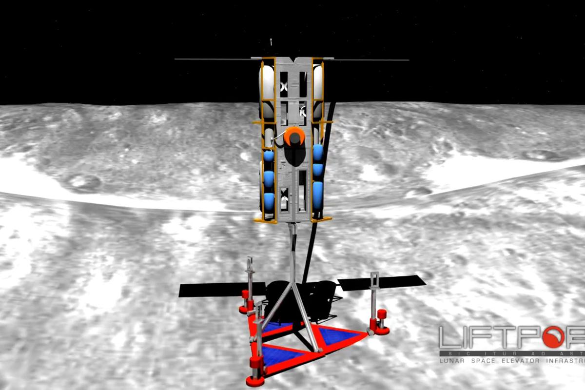 Artist's impression of the lunar elevator's lunar base and climber car (Image: LiftPort)