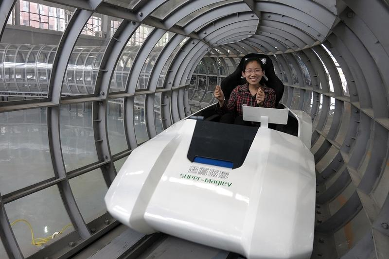 A team lead by Dr Deng Zigang at Southwest Jiaotong University in China have built a maglev train with the potential to reach 1,800 mph (2,900 km/h) (Photo: Imagechina)