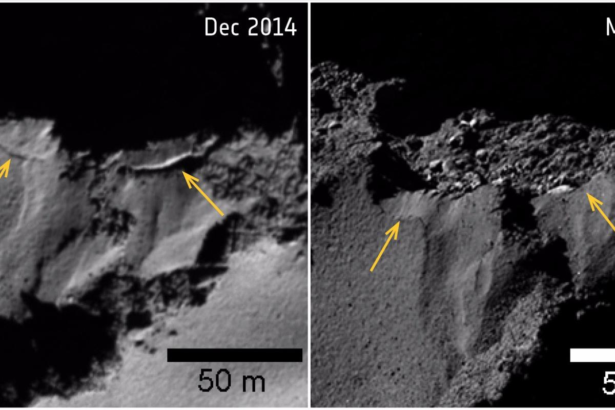 Several sites of cliff collapse on Comet 67P/Churyumov–Gerasimenko were identified during Rosetta's mission.