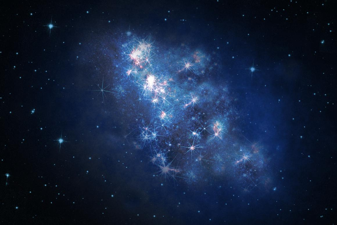 An artist's rendition of the newly-discovered z8-GND-5296 galaxy (Image: UCR/NASA)