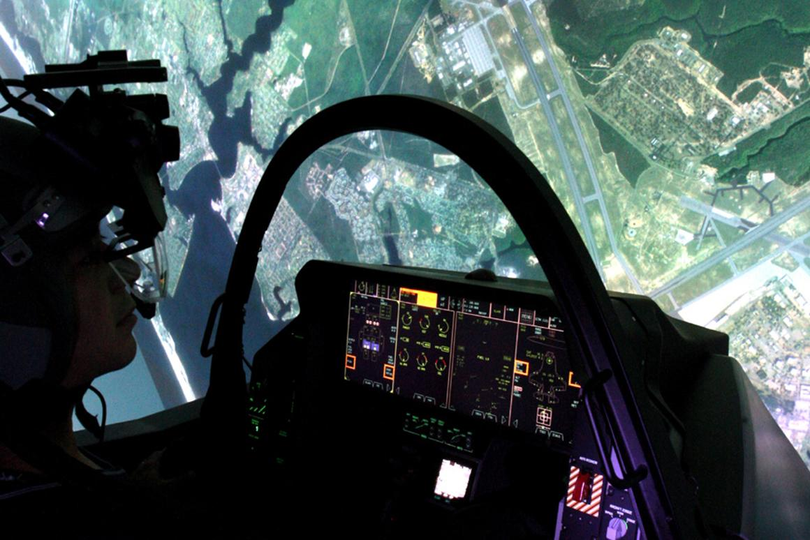 The F-35 Lightning II Full Mission Simulator includes a high-fidelity 360-degree visual display system and a reconfigurable cockpit