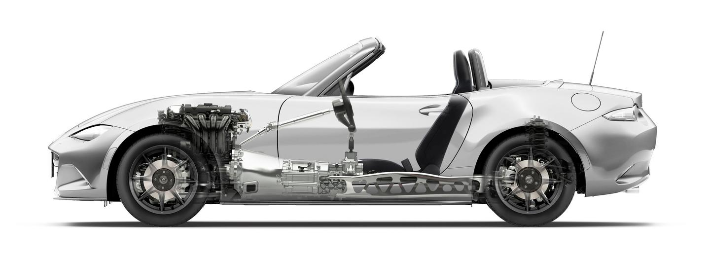 A see through rendering clearly shows the roadster's new chassis and architectural design elements
