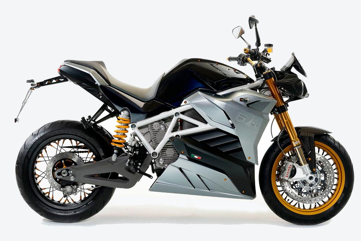 The Energica Eva, here in Dark Blue, is essentially a naked version of the Ego electric superbike