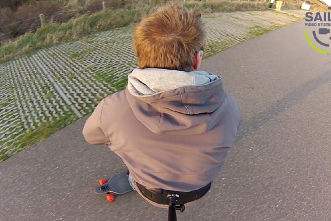 A skateboarding shot taken using the 3rd Person View camera-mounting system