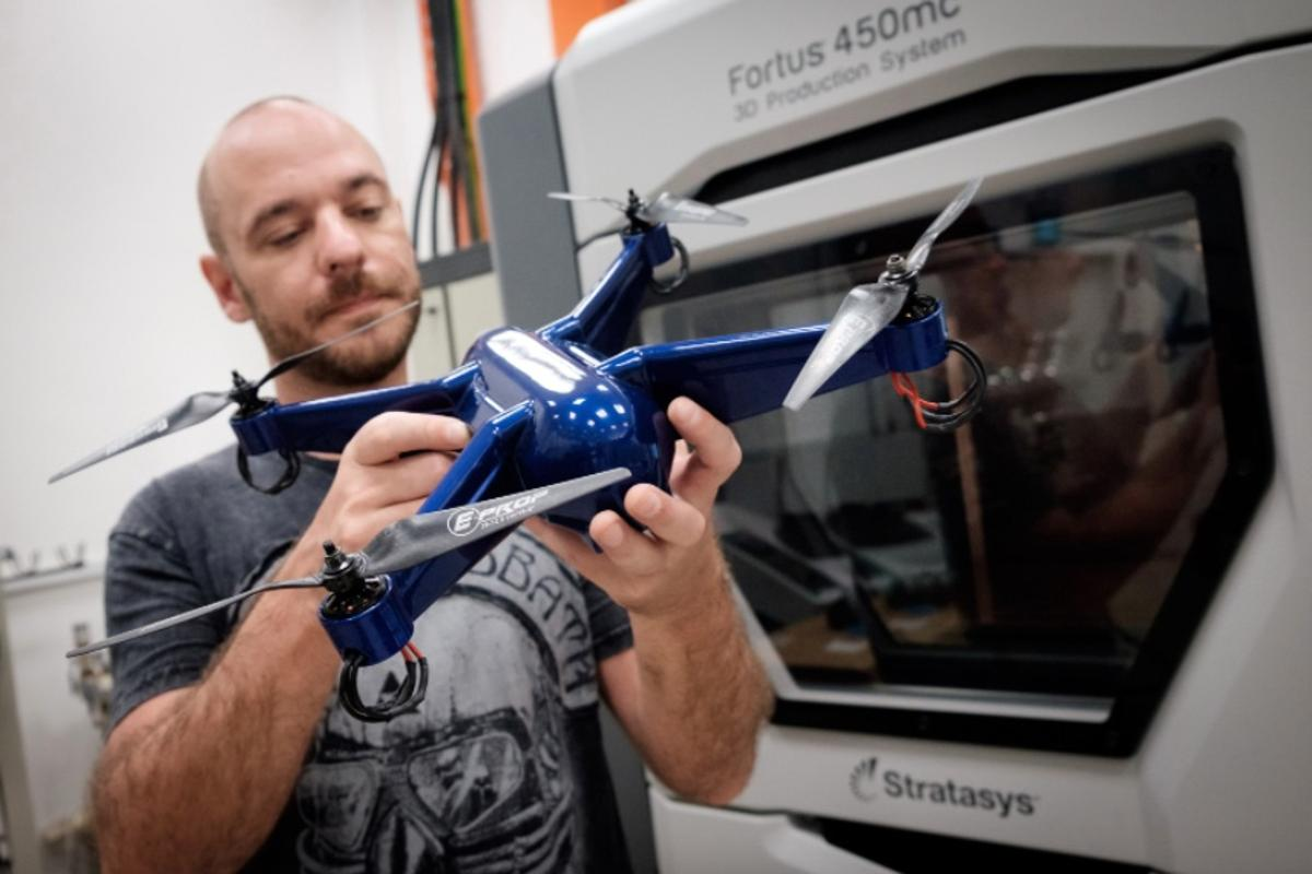 Phillip Keane with his 3D-printed drone