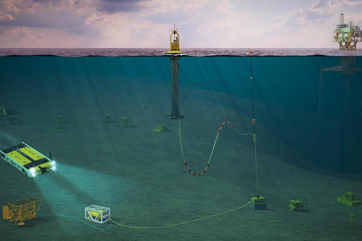 An illustration of the OPT-Modus-Saab Seaeye Subsea Vehicle Residency Solution, deployed near an offshore oil rig